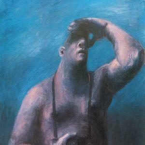 TOURIST, Ausschau haltend, 100 x 120, Öl/L, 1992