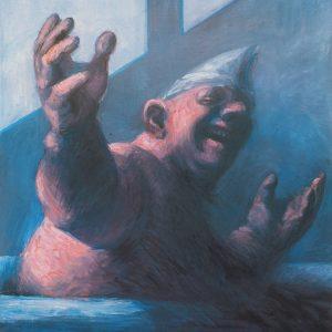 Narr in Badewanne, 100 x 140, Öl/L, 1992